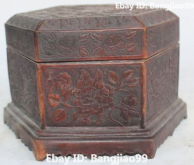 Chinese Fengshui Purple Bronze Flower Circular Box Casket jewel case Statue
