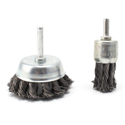 2Pcs 6*25&50mm Wire Knot End Brush Stainless Steel With Shank Polishing Tool