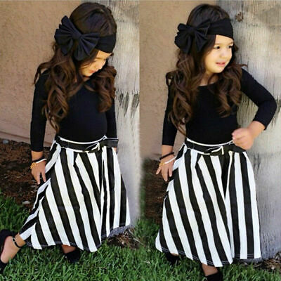 Stunning Kids Girls Navy Blue 4pc Skirt Top & Bow Headband Outfit Set - Age