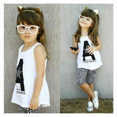 Stunning Kids Girls Outfit White Athletic Vest Top and 3 Quarter Pant Set Age