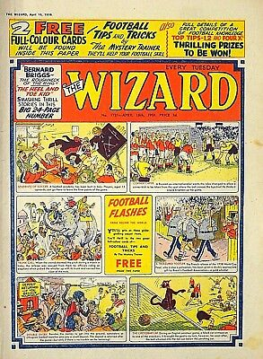 WIZARD + FREE GIFT FOOTBALL CARDS !! 18th APRIL 1959..RARE & COLLECTABLE !! FINE