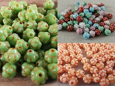 Czech little flower different colours pressed bead 6 mm pack of 20
