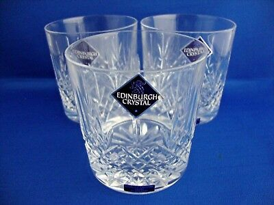 3 x Edinburgh Crystal Kenmore Pattern Cut Old Fashioned Whisky Tumbler - Signed