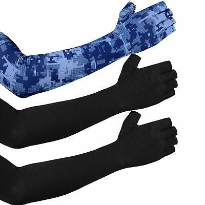 MUYDZ 2 Pair Womens UV Protection Long Lace Gloves Cooling or Warmer Arm Sleeves 2 Purposes Sunscreen Cuffs