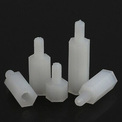 White Nylon Plastic Male-Female Threaded Hex Standoffs Spacers M3 M4