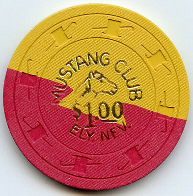 Mustang Club Casino - Ely, NV - $1.00 Chip - 1/2 Pie/Dovetail Yellow - 1967