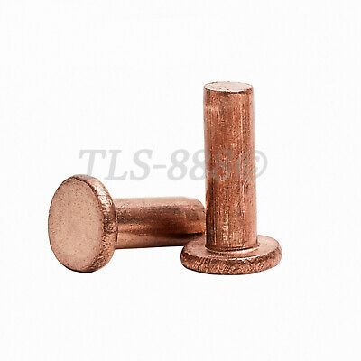Brass Copper - Flat Head Solid Rivets - M4 M5 x5/6/8/10/12/16/18/20/25/30/40mm