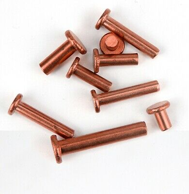 Brass Copper - Flat Head Solid Rivets - M2 M2.5 M3 x3/4/5/6/8/10/12/14/16/20mm