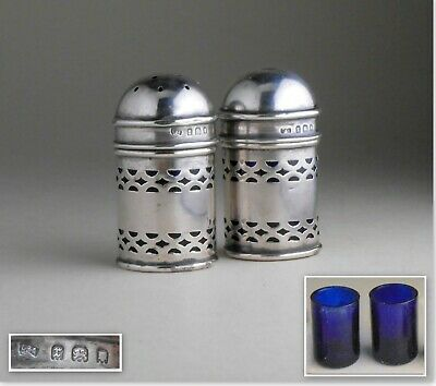 English Edwardian pierced sterling silver blue glass liner SALT PEPPER SHAKERS