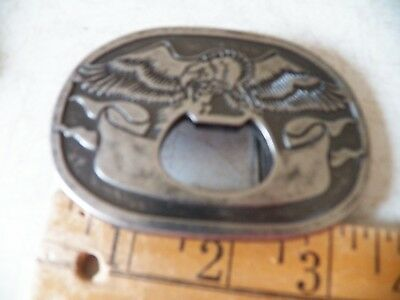 """Screaming Eagle And Banner Belt Buckle Silver Metal 3 1/2"""" X 2 1/2"""""""