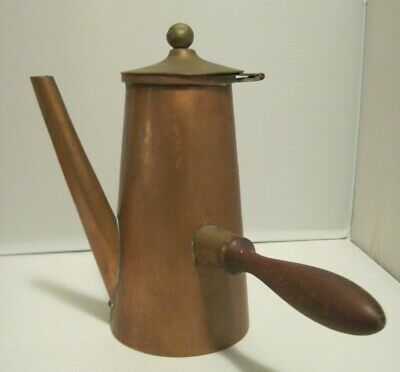 Vtg Copper w/Brass & Wood Coffee, Hot Chocolate, Tea Kettle Pot Made in Mexico