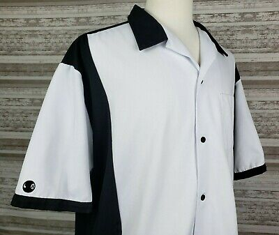 447a5d2275 Cruisin USA Mens XXL Bowling Retro Casual Shirt Black White S S Button Front