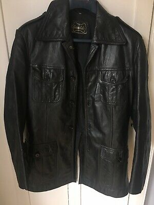VINTAGE mens 1970's GENUINE SOFT BLACK LEATHER 4 POCKET SAFARI JACKET BLAZER 38""