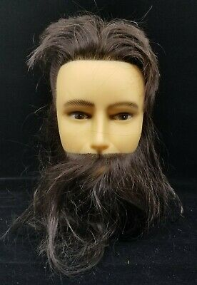 MANNEQUIN HEAD Adam Paul Mitchell Human Beard Hair Cosmetology Barber Black