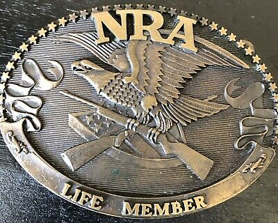 Vintage NRA Life Member Brass Belt Buckle Bald Eagle & Guns Norman Foundry USA