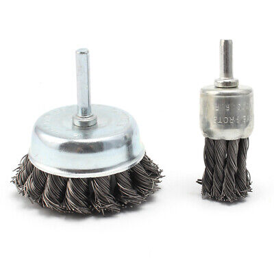 2Pcs 25mm&75mm Wire Knot End Brush Stainless Steel With Shank Rust Removal Tool