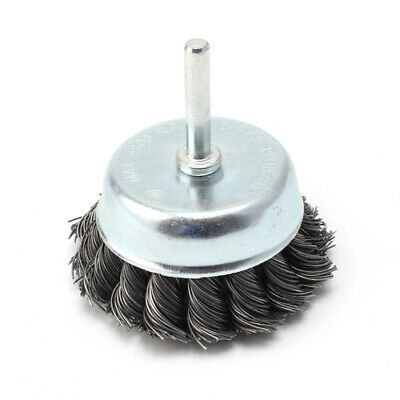 75mm Knot Steel Wire Wheel Cup Brush 6mm Shank For Surface Cleaning Rotary Tool