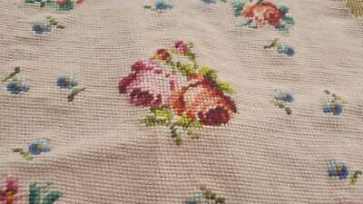 Vintage Bucilla Needlepoint Tapestry Chair Cover Pink Red Roses Tiny Blue Green