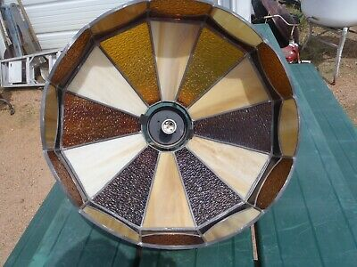 Rare Vintage Slag  And Stained Glass,Leaded Glass Light Shade,Light Fixture,Nice