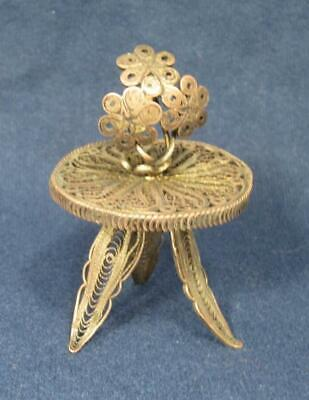 Miniature Filigree  Silver Table with Flowers Vintage Continental Dollhouse