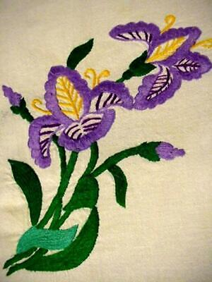 Vintage Embroidered PURPLE IRIS Small FLORAL Tablecloth Matching LACE EDGE Rare