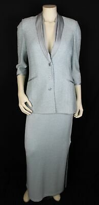 St. John Evening 2pc Blue Satin Collar Tweed Blazer & Knit Skirt Set Size 6/4