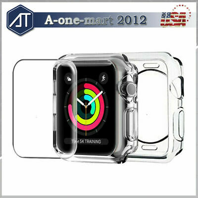 For Apple Watch Series 5 4 Tempered Glass Screen Protector 40 44 Soft Clear Case