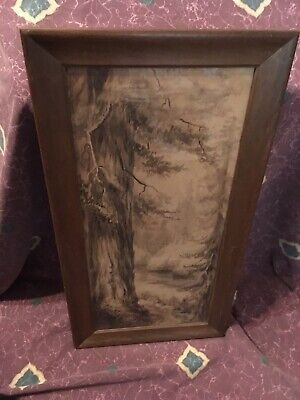 Antique Original 19th Century Watercolor Painting Signed By E.A. Moore