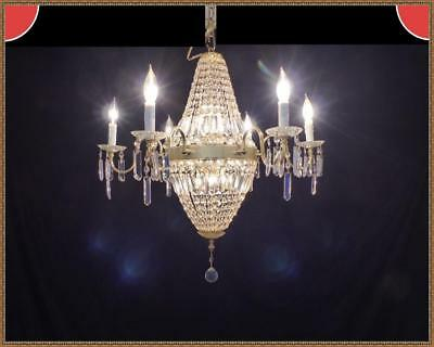 Vintage Italian French Empire Basket Chandelier 590 Amazing Leaded Crystals WOW!