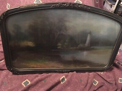 Antique Original 19th Century Pastel(?) Painting Of Lighthouse Along The Water