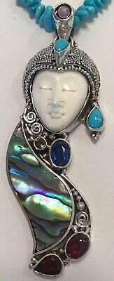 """Sleeping Beauty Turquoise Necklace 36"""", Bali Goddess Pendant, Sterling Silver"""