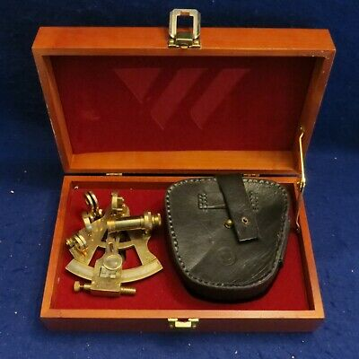 Vintage Stanley London SL No. 538 Brass Sextant with Case in Wooden Box VG COND