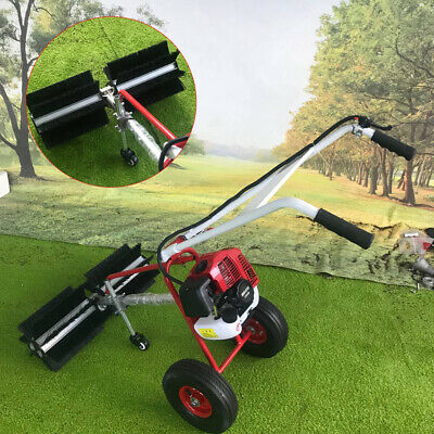 43Cc Gas Powered Sweeper Broom Hand Held Concrete Cleaning Driveway Walk Behind