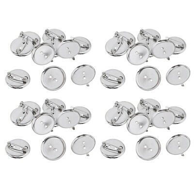 23MM Silver Brooch Base Pins Pin-Back Button Parts Brooch Clasp 40x