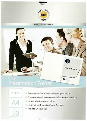 50 x   Marbig 1104308   White Professional Series Gloss A4  Presentation Folders