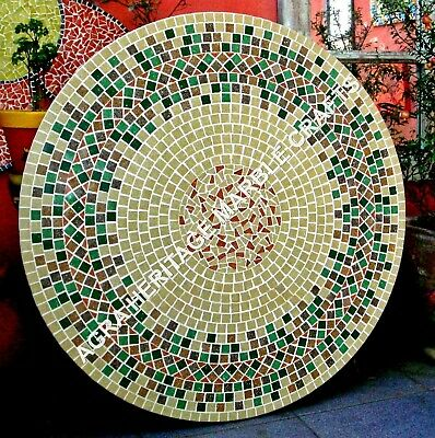 """36"""" Beautiful Marble Round Dining Table Top Mosaic Multi Inlay Stone Decor H3464"""