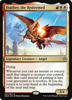 FEATHER, THE REDEEMED War of the Spark MTG Gold Creature — Angel Rare
