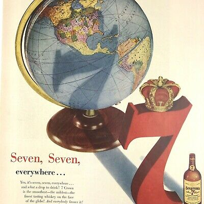 Seagrams 7 Crown Whiskey Magazine Print Ad Vintage 1951 Original Liquor Drink