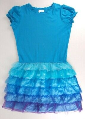 feaec4ab9c Girl's Hanna Andersson Dress Size 150 US 12 Blue Flutter Tulle Ruffle Cap  Sleeve