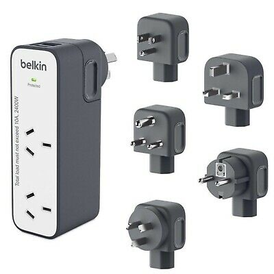 Belkin International Universal Travel Power Surge Protector 2 Outlet Dual USB