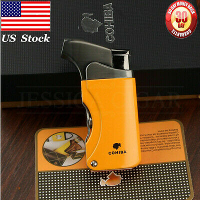 US STOCK COHIBA Metal 1Torch Jet Flame Cigar Cigarette Lighter 2 Punch Windproof