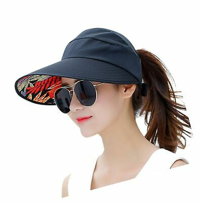 d98714f3a2f HINDAWI Sun Hats for Women Wide Brim UV Protection Summer Beach Packable  Visor