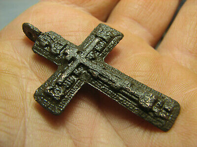 Rare !  Big ! Relief ! Nice Late Medieval  Bronze Cross Pendant #1200