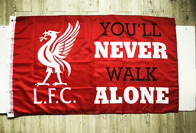 Liverpool Flag Banner 3X5FT L.F.C  You'll Never Walk Alone Soccer 2Grommets/391