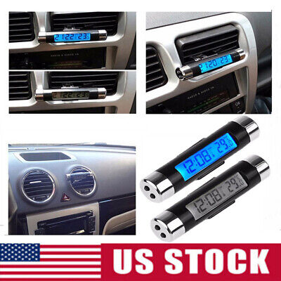 Auto Dashboard& Air Vent Digital LCD Mini Thermometer Time Clock w/ Backlight US