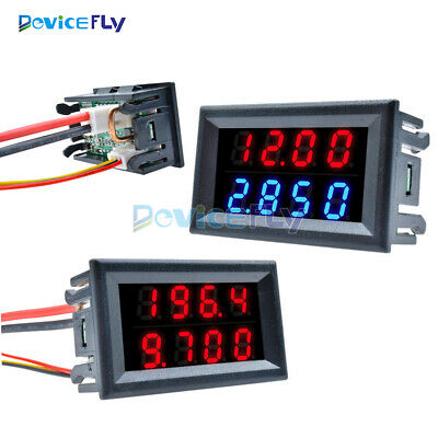 Digital 0-200V 10A Voltmeter Ammeter Red+Red/Red+Blue Dual LED Amp Volt 5-Wires
