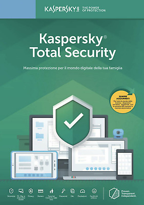 Kaspersky Total Security 2019|10 Devices PC Mac Android iOS|1 Anno  NEW Fattura