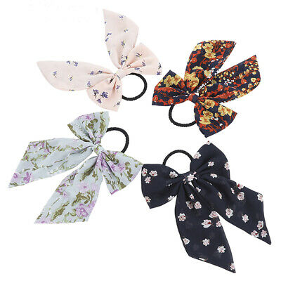 Women's Bow Elastic Scrunchies Hair Band Rope Tie Ponytail Holders Accessories