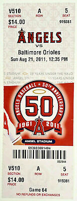 Mike Trout Rookie 1St Double & Multi-Hit Game @ Home 8/21/11 Angels Full Ticket