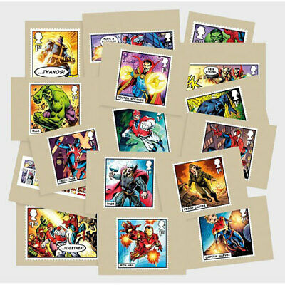 Gran Bretaña Gb Sellos Marvel Comics Serie 16 Postales 2019 Royal Mint